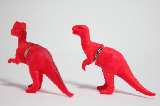 Neon pink dinosaur fridge magnets 1